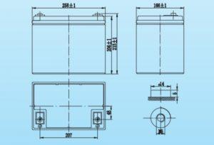 Kích thước ắc quy Vision Model 6FM75-X thuộc Dakia