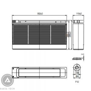Kích thước ắc quy Vision Model CT12-140Ah-Dakia
