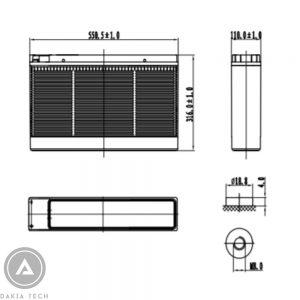 Kích thước ắc quy Vision Model CT12-160X-DAKIATECH