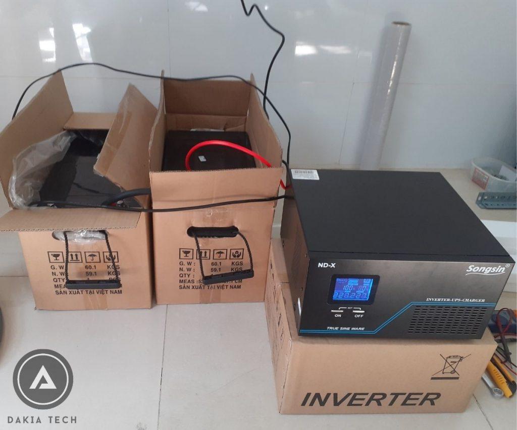 Kiểm tra Combo UPS SongSin 2KVA và 2 Acquy Vision 200Ah trước khi giao