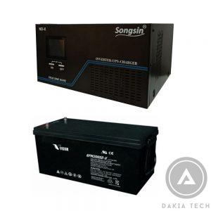 Combo UPS SongSin 2KVA và 2 Acquy Vision 200Ah - DAKIA TECH