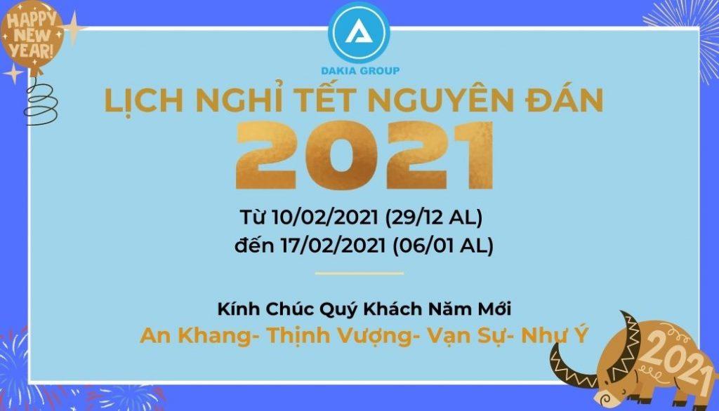 DAKIA TECH-LỊCH NGHỈ TẾT NGUYÊN ĐÁN 2021