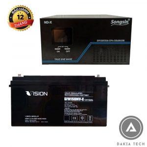 Nơi bán Combo Bộ Lưu Điện SongSin 2KVA và 2 Ắc quy Vision 12V 150Ah