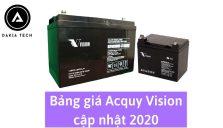 Bảng giá bình Acquy Vision do Daiatech cung cấp